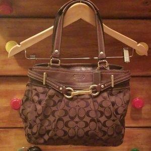 Brown Coach Signature medium bag